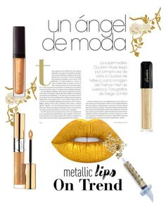 """""""Golden Smile"""" by lorrielavallee ❤ liked on Polyvore featuring beauty, Lime Crime, Laura Mercier, Yves Saint Laurent, Guerlain, Glitter Injections and metalliclips"""