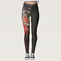 DUTCH FLORAL PAINTING WITH CHARCOAL ASYMM LEGGINGS leggings outfits, halloween leggings outfit, charcoal leggings outfit #beuwo #yogaoutfit #gymoutfit, dried orange slices, yule decorations, scandinavian christmas Flannel And Leggings, Gym Leggings, Leggings Fashion, Printed Leggings, Workout Tips, Fitness Workouts, Fitness Tips, Halloween Leggings