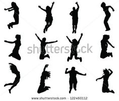 Illustration of people jumping-silhouettes - stock vector