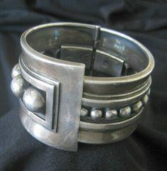 Vintage Margot de Taxco sterling silver 'Deco' domed clamper bracelet, circa-1950s