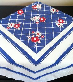 Vintage Kitschy Tablecloth, Red White and Blue