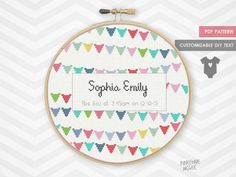 BABY BUNTING ANNOUNCEMENT counted cross stitch pattern, girl shower sampler modern nursery decor, easy personalized birth record xstitch pdf from PineconeMcGee on Etsy Studio Baby Cross Stitch Patterns, Cross Stitch Baby, Modern Cross Stitch, Stitching Patterns, Loom Patterns, Baby Bunting, Cross Stitching, Cross Stitch Embroidery, Modern Nursery Decor