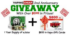 Enter to Win over $1099 in Vape Prizes at http://vapingcheap.com