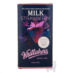 Let Whittaker's Milk Strawberry Chocolate Block melt in your mouth with its creamy milk chocolate and sweet strawberry liquid center. Contains cocoa from ethically sourced cocoa. Chocolate Strawberries, Confectionery, Paper Design, New Zealand, Cocoa, Strawberry, Milk, Packaging, Chocolates