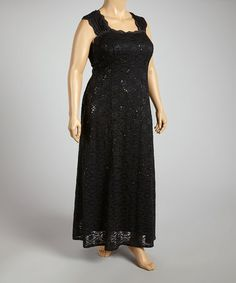 Look what I found on #zulily! Black Sequin Lace Cutout-Back Gown - Plus by R&M Richards #zulilyfinds