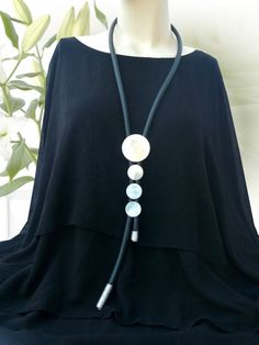 LAGENLOOK lange XXL Schmuck Halskette Aluminium Kautschuk-Kette schwarz silber | Uhren & Schmuck, Modeschmuck, Halsketten & Anhänger | eBay!