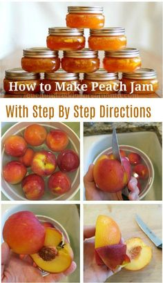 Canning 101 - How To Make Peach Jam - Recipes - Homemade jam Canning 101, Canning Recipes, Peach Preserves Recipe, Fruit Preserves, Peach Marmalade Recipe, Peach Jam Recipe Without Pectin, Canning Peaches, Peach Jelly Recipe Canning, Gluten Free Vegan