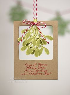 mistletoe photo frame tag - distress the card stock before stamping the mistletoe for soft bendy leaves