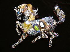 CJ Borden. Adalia Horse Vintage Jewelry Wall Art. Jewelry art by Art Creations by CJ. Contact me for custom work.