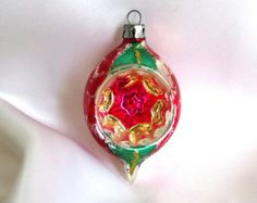 Vintage Christmas Ornament, Green and Red Mouth Blown Deep Indent Teardrop ...