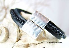 men's bracelet  leather bracelet for men black by elfenstuebchen