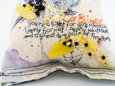 Embroidered Cockney Rhyming slang text.  @KarenGrenfell