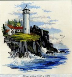 Storm Point - cross stitch kit by Rose Swalwell - An attractive picture of a lighthouse perched on a cliff edge. Cross Stitch Needles, Cross Stitch Kits, Cross Stitch Designs, Cross Stitch Patterns, Cross Stitching, Cross Stitch Embroidery, Cross Stitch Numbers, Hand Embroidery Kits, Embroidery Designs