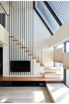 """Asian modern staircase design via Hey! See how to """"Step Up Your Staircase Game with This Modern Design Trend"""" Staircase Architecture, House Staircase, Staircase Design, Staircase Decoration, Stair Design, Staircase Ideas, Spiral Staircase, Interior Stairs, Home Interior"""