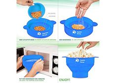 Kaptain Kernel Microwave Popcorn Popper, Collapsible Silicone Bowl, Hot Air Popcorn Maker, Healthy Machine No Oil Needed, BPA PVC Free With Lid AND Convenient Handles (Blue); Designed in Canada: Amazon.ca: Home & Kitchen
