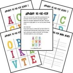 Free Printable Alphabet Tic-Tac-Toe Game. put in page protectors and use dry erase markers!