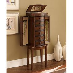 Exotic Vintage Mahogany Mirrored Doors Powell Wooden Jewelry Armoire