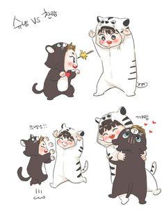 Chanyeol and xiumin Kawaii Chibi, Cute Chibi, Kawaii Anime, Exo Anime, Anime Chibi, Kpop Drawings, Cute Drawings, Exo Cartoon, Exo Stickers