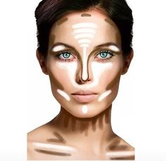 Contouring Tricks In HS, a make-up artist visited my class and showed us these tips. The general idea stuck, but not the details.  Nice diagram for personal use