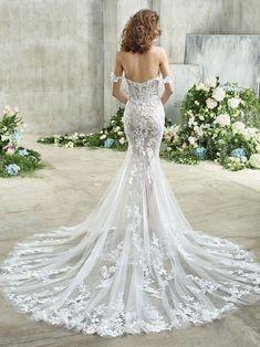 Etta Front Beautiful Wedding Gowns, Dream Wedding Dresses, Designer Wedding Dresses, Bridal Dresses, Girls Dresses, Badgley Mischka Bridal, Wedding Dress Silhouette, Column Dress, Mermaid Dresses