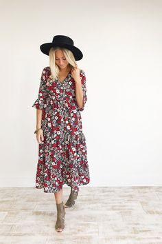 Red, Charcoal, + Cream Floral Maxi  1/2 Bell Sleeves  Cinched Waist + Wrapped Top  Wide Ruffled Hem