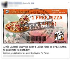 'Free Pizza From Little Caesars' Facebook Post is a Scam