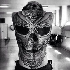 Back tattoo #skeleton #skull # backpiece