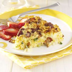 Breakfast Pie ~ This crustless pie is wonderful to serve to overnight guests because you assemble it the night before.