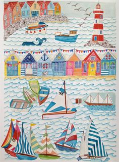 Nautical Seaside Illustration A4/A3 Sailing Boats & by LouiseThrop, £15.00