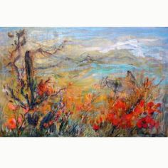 Edna Hibel, 'Arizona Desert' Oil on Canvas