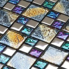 Wholesale Crystal Glass Mosaic Patterns Design Wall StickersTile Backsplash Kitchen Plated Bathroom Tiles Mirror Art Wall Tiling $230.88