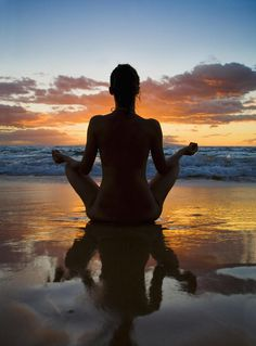 Hawaii, Maui, Silhouette Of Beautiful Girl Doing Yoga On The Beach