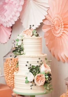 So pretty! This cake looks like buttercream done with a shaped scraper to give it that horizontal pattern - so it's as yummy as it is pretty! The soft peach colour and sugar flowers are gorgeous.