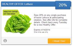 Coupon To Save 20% On Any Single Purchase Of Loose Lettuce - http://couponingforfreebies.com/coupon-save-20-single-purchase-loose-lettuce/
