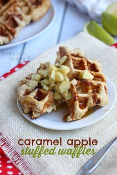 These CARAMEL APPLE STUFFED WAFFLES are a deliciously decadent treat for a special occasion breakfast or brunch | www.happyfoodhealthylife.com