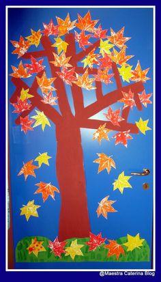 Cartellone sui colori primari realizzato con le impronte for Addobbi porta autunno