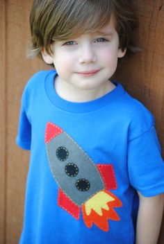 Rocket to the moon hand sewn kids tshirt by Onceuponastory on Etsy, $20.00