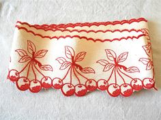 French vintage Frieze shelf - Decorative lace shelf - french linen - french kitchen - cherries