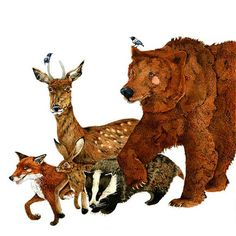 Print Bear and woodland Creatures Fox Deer by ChasingtheCrayon