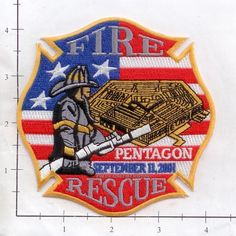 Washington DC - 9-11-01 Pentagon Fire & Rescue Fire Dept Patch  WTC 9-11 #Patches