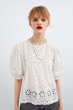 ZARA - Female - Openwork embroidery shirt - Ecru - S Cutwork Embroidery, Shirt Embroidery, Dressy Casual Outfits, Beautiful Blouses, Facon, Lace Tops, Blouses For Women, Dame, Women Wear