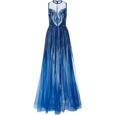 Elie Saab     Sleeveless Beaded Gown (£9,095) ❤ liked on Polyvore featuring dresses, gowns, elie saab, gown, blue, blue dress, sequin gown, tulle ball gown, beaded evening gowns and sequin evening dresses