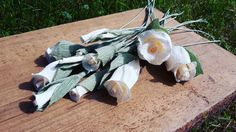 Little Ivory Crepe Paper Flowers Wedding by moniaflowers on Etsy