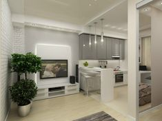 кухня в дизайне однокомнатной квартиры 45 кв. м.