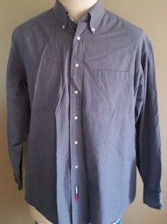 Men's Tommy Hilfiger Long Sleeve Button Up 17 34 / 35 Navy White Checks #TommyHilfiger #ButtonFront