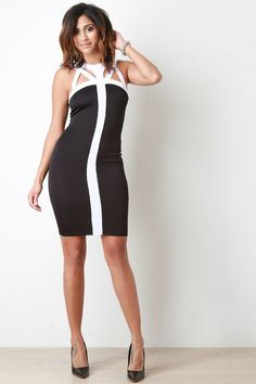 Strappy Caged Two Tone Sleeveless Bodycon Dress