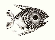 'Pattern Fish'  (2008)  Original Ink from J. Vincent Scarpace