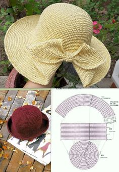 Russian Online Diaries Service - Hat with a knit bow - Diy Crafts Crochet, Crochet Projects, Knitting Patterns, Sewing Patterns, Crochet Patterns, Sombrero A Crochet, Crochet Summer Hats, Summer Knitting, Crochet Patron