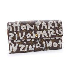 Louis Vuitton Pochette Porte Monnaie Credit Monogram Graffiti Wallets Brown Canvas M92189