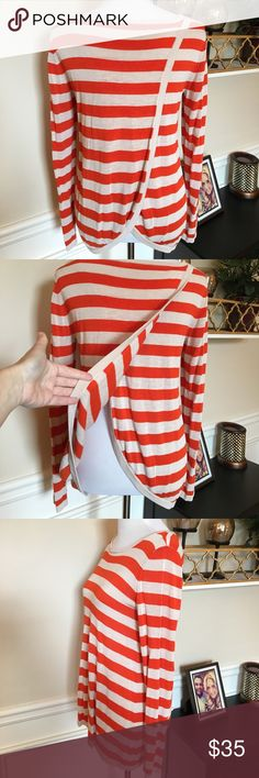 Cremieux split back sweater orange and cream Excellent condition lightweight sweater with split back. Daniel Cremieux Tops